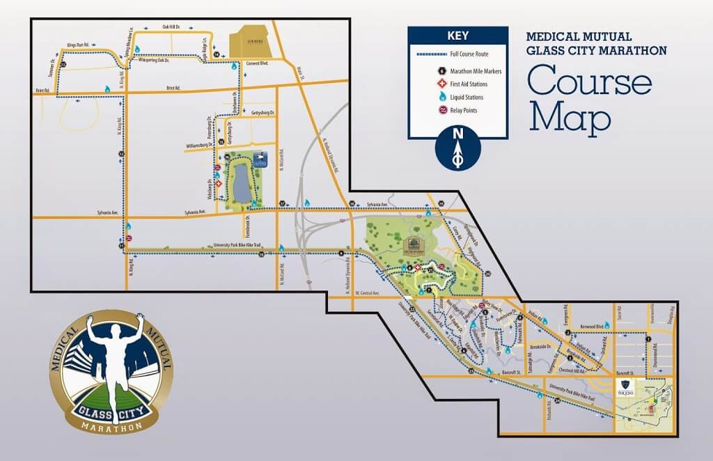 2014 Glass City Marathon Course Map