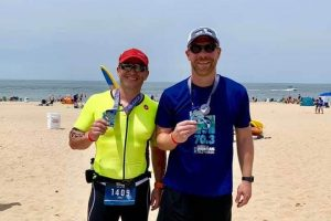 Kale Bushmeyer and Josh Zeigler after IRONMAN 70.3 Steelhead - Benton Harbor, Michigan